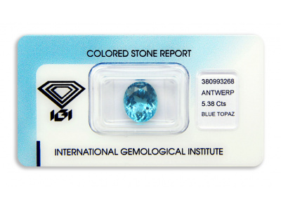 topaz 5.38ct blue s IGI certifikátem