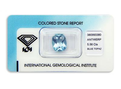 topaz 5.56ct blue s IGI certifikátem