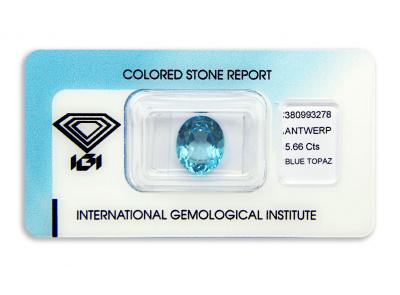 topaz 5.66ct blue s IGI certifikátem