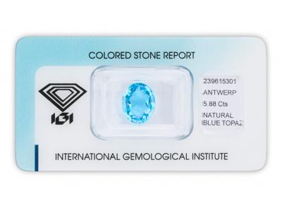 topaz 5.88ct deep blue s IGI certifikátem