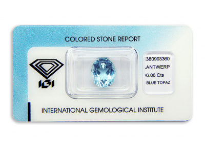 topaz 6.06ct blue s IGI certifikátem
