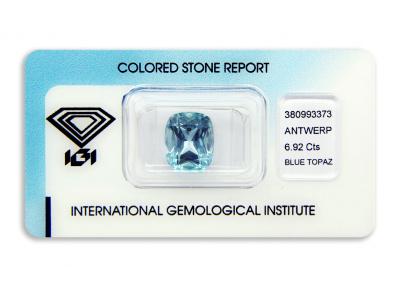 topaz 6.92ct blue s IGI certifikátem