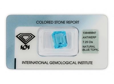 topaz 7.25ct blue s IGI certifikátem