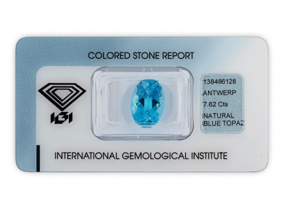 topaz 7.62ct blue s IGI certifikátem