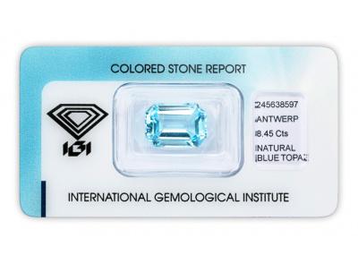 topaz 8.45ct blue s IGI certifikátem