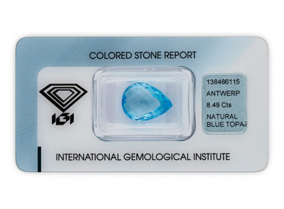 topaz 8.49ct blue s IGI certifikátem