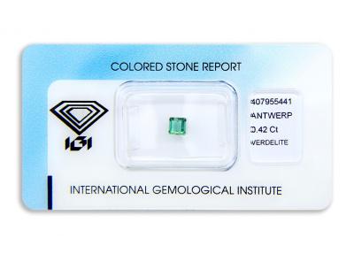 verdelit 0.42ct green s IGI certifikátem