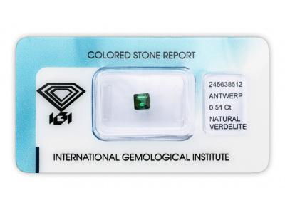 verdelit 0.51ct green s IGI certifikátem