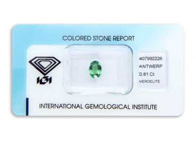 verdelit 0.81ct yellowish green s IGI certifikátem