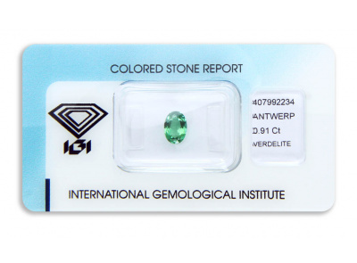 verdelit 0.91ct yellowish bluish green s IGI certifikátem