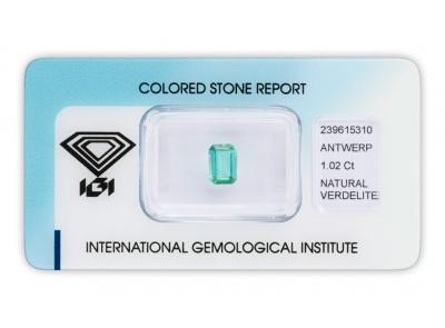 verdelit 1.02ct blue - green s IGI certifikátem