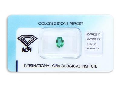 verdelit 1.05ct yellowish bluish green s IGI certifikátem
