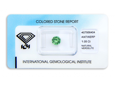 verdelit 1.05ct yellowish green s IGI certifikátem