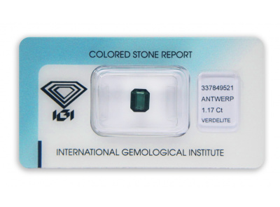 verdelit 1.17ct bluish green s IGI certifikátem