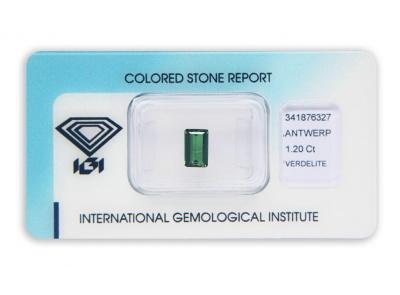 verdelit 1.20ct deep green s IGI certifikátem