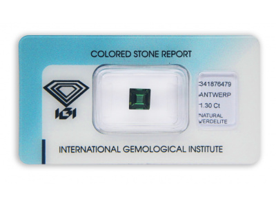 verdelit 1.30ct green s IGI certifikátem