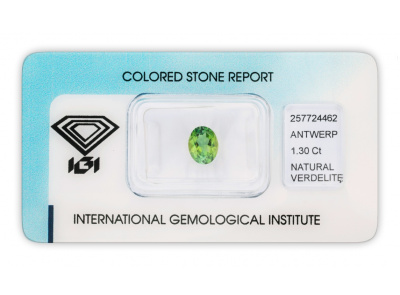 verdelit 1.30ct yellowish green s IGI certifikátem