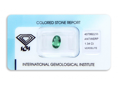verdelit 1.34ct yellowish bluish green s IGI certifikátem