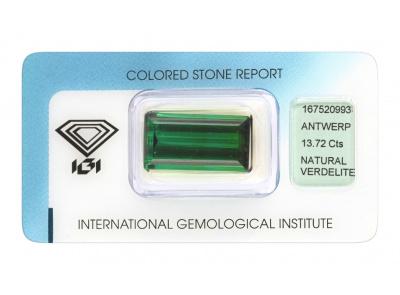verdelit 13.72ct bluish green s IGI certifikátem