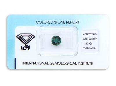 verdelit 1.43ct blue-green s IGI certifikátem