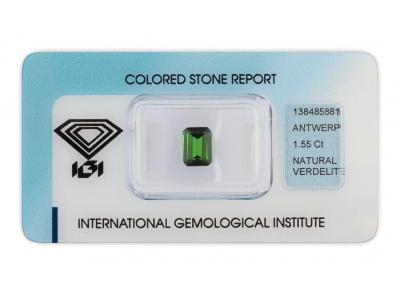 verdelit 1.55ct deep green s IGI certifikátem