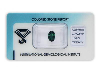 verdelit 1.58ct bluish green s IGI certifikátem