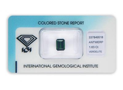 verdelit 1.63ct green s IGI certifikátem