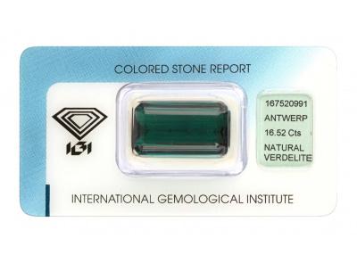 verdelit 16.52ct deep bluish green s IGI certifikátem
