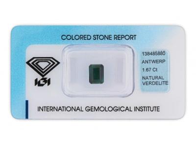 verdelit 1.67ct green s IGI certifikátem