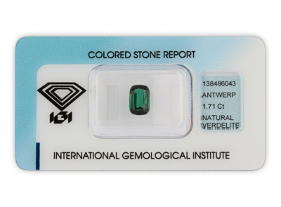 verdelit 1.71ct deep green s IGI certifikátem