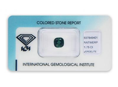 verdelit 1.75ct green s IGI certifikátem