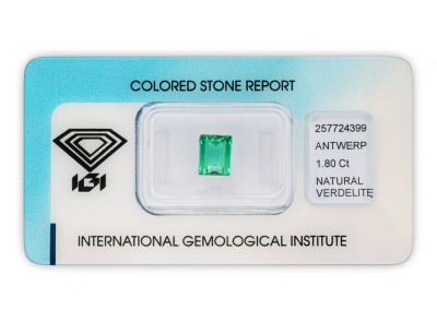 verdelit 1.80ct bluish green/green s IGI certifikátem