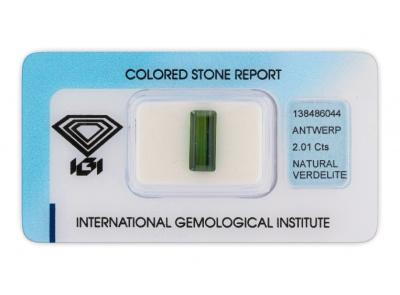 verdelit 2.01ct green s IGI certifikátem