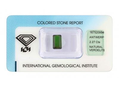 verdelit 2.27ct deep green s IGI certifikátem