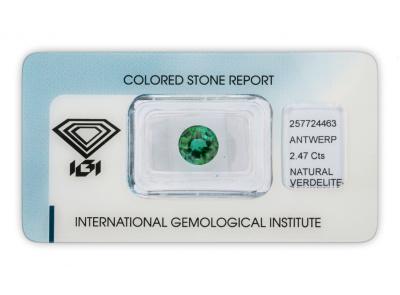 verdelit 2.47ct green/bluish green s IGI certifikátem