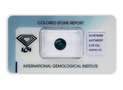 verdelit 2.55ct deep green s IGI certifikátem