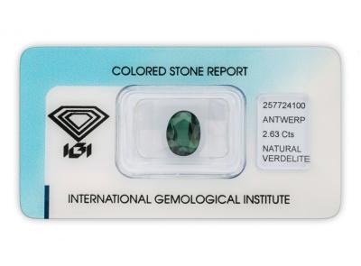 verdelit 2.63ct bluish green s IGI certifikátem