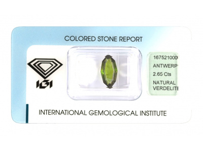verdelit 2.65ct yellowish green s IGI certifikátem