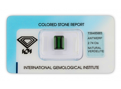 verdelit 2.74ct deep green s IGI certifikátem