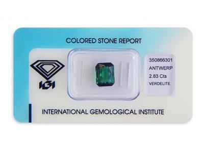 verdelit 2.83ct green s IGI certifikátem