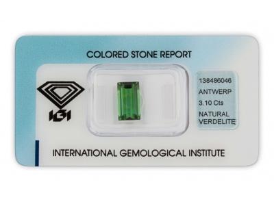 verdelit 3.10ct green s IGI certifikátem