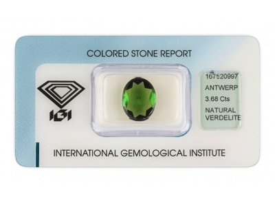 verdelit 3.68ct yellowish green s IGI certifikátem