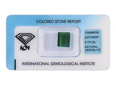 verdelit 3.73ct bluish green s IGI certifikátem