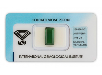 verdelit 3.96ct deep green s IGI certifikátem