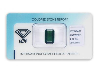 verdelit 4.12ct green s IGI certifikátem