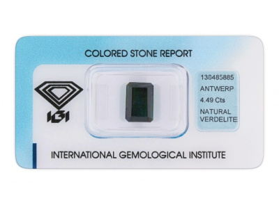 verdelit 4.49ct deep green s IGI certifikátem