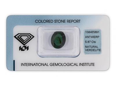 verdelit 5.87ct dark green s IGI certifikátem
