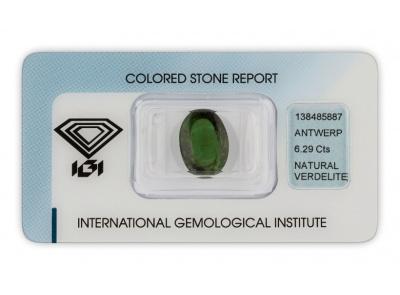 verdelit 6.29ct deep green s IGI certifikátem