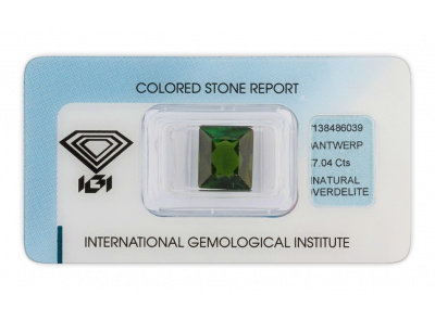 verdelit 7.04ct deep green s IGI certifikátem