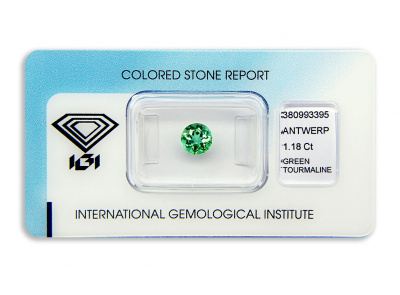 zelený turmalín 1.18ct yellowish green s IGI certifikátem